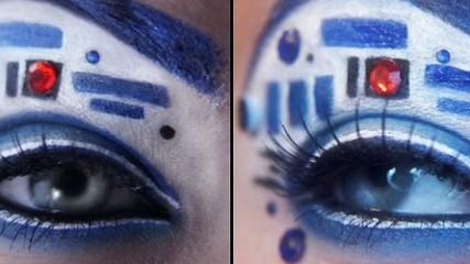 Regardez le monde à la mode R2D2 star wars maquillage