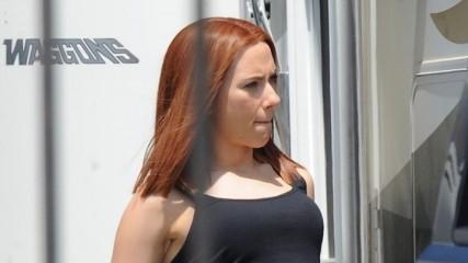 Scarlett Johansson sur le tournage de Captain America 2