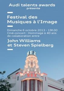 Affiche Festival Musiques à l'Image 2013 avec mise à l'honneur de John williams et Steven Spierlberg