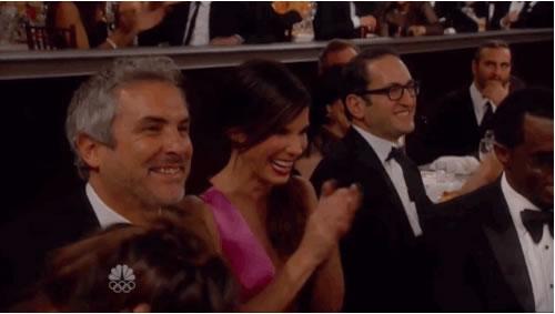 Sandra Bullock réagi a la vanne sur gravity golden globes 2014