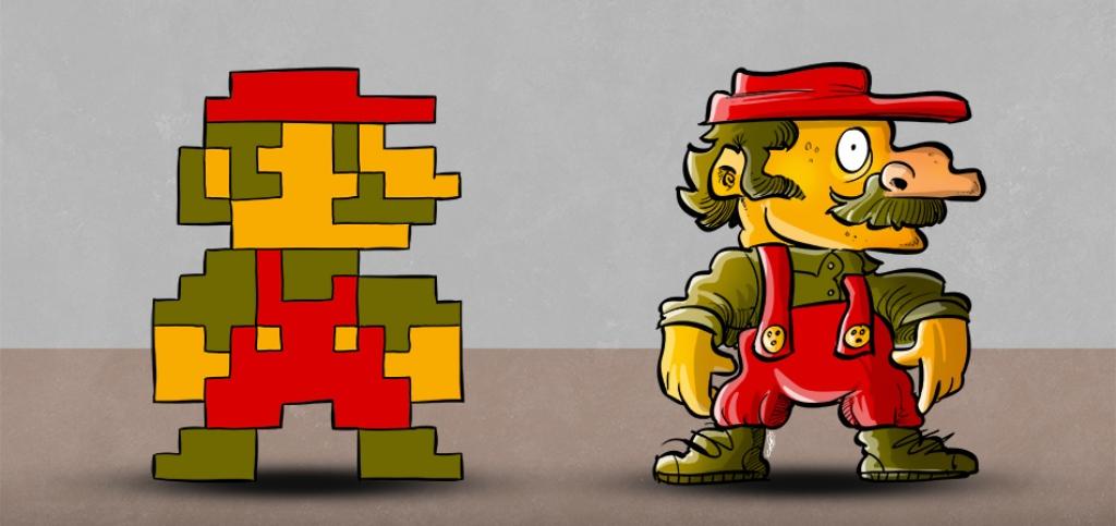 Pixel Interpretation Mario Link Et Samus Dépixélisés