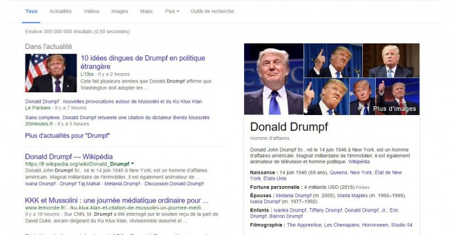 Drumpfinator  l'extenssion chrome anti trump test