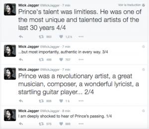 Tweet Mick Jagger Prince ILLU