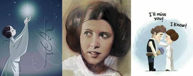 carrie-fisher-hommage-en-dessins-à-la-Princesse-Leia-une